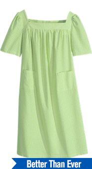 Checked Seersucker Patio Dress