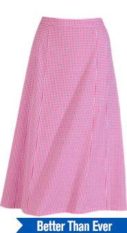Checked Seersucker Pull-On Skirt