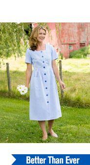 Striped Seersucker Button-Front Dress
