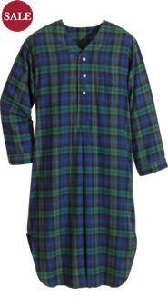 Plaid Cotton Flannel Nightshirt