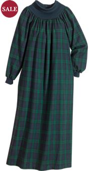 Plaid Flannel Popover Nightgown