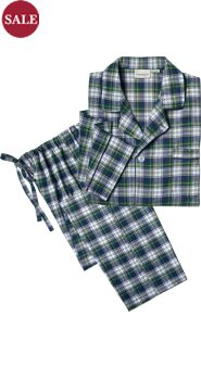Men's 100% Cotton Plaid Flannel Button-Front Pajamas