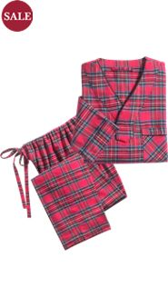 Men's 100% Cotton Plaid Flannel Pullover Pajamas
