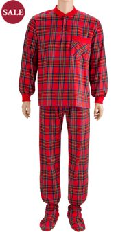 Men's Two-Piece Footed Pajamas