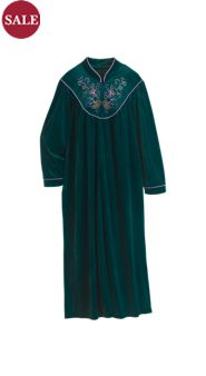 Embroidered Velour Robe