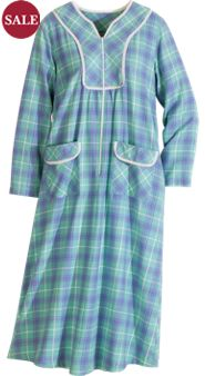 Zip-Front Plaid Flannel Robe