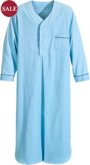 Men's Full-Length Solid Flannel Nightshirt