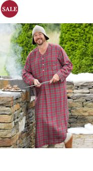 Men's Full-Length Plaid Flannel Nightshirt