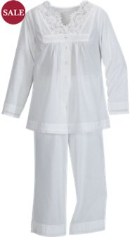 April Cornell White Lace PJs