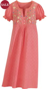 April Cornell Embroidered Floral Nightgown