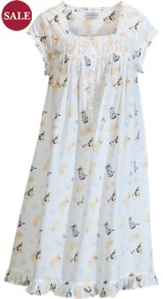 Lanz Kitten-Print Nightgown