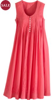 Release-Pleat Cotton Gown With Embroidered Hem