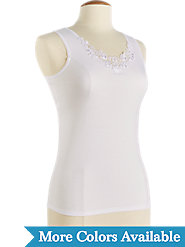 Lace-Trimmed Cami: Silky Nylon Outside, Smooth Cotton Inside